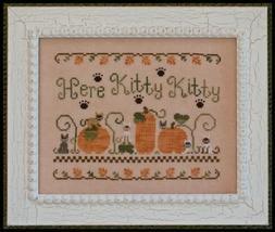 Here Kitty Kitty fall pumpkin cross stitch chart Country Cottage Needleworks - $7.20