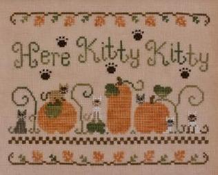 Here Kitty Kitty fall pumpkin cross stitch chart Country Cottage Needleworks