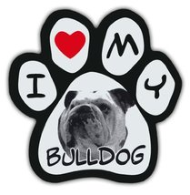Picture Paws | Dog Paw Shaped Magnets: I LOVE MY BULLDOG | Car Magnet - $6.99