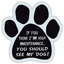 Crazy Sticker Guy Paw Shaped Car Magnet - High Maintenance… You Should See My Do - $6.99