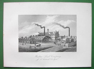 BOSTON Lead Company J.H. Chadwick Massachusetts - 1876 Original Engraving Print