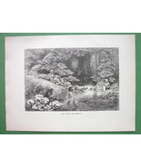 JAPAN Garden of a Rich Japanese - 1882 Antique Print Engraving - $14.84