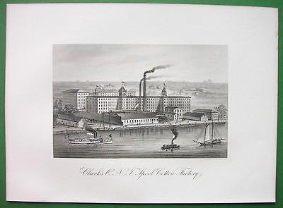 NEW YORK CITY Clark's Spool Cotton Factory - 1876 Original Engraving Print