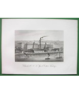 NEW YORK CITY Clark's Spool Cotton Factory - 1876 Original Engraving Print - $33.66