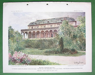 PRAGUE Praha Belvedere Summer House of Queen Anne - COLOR Antique Print