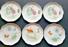 """Lenox 6 Butterfly Meadow Accent Plate 9"""" Dragonfly Eastern Tailed Blue Monarch - $49.49"""