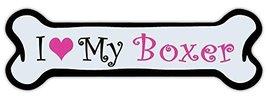 Crazy Sticker Guy Pink Dog Bone Shaped Magnet - I Love My Boxer - Cars, Trucks,  - $6.99