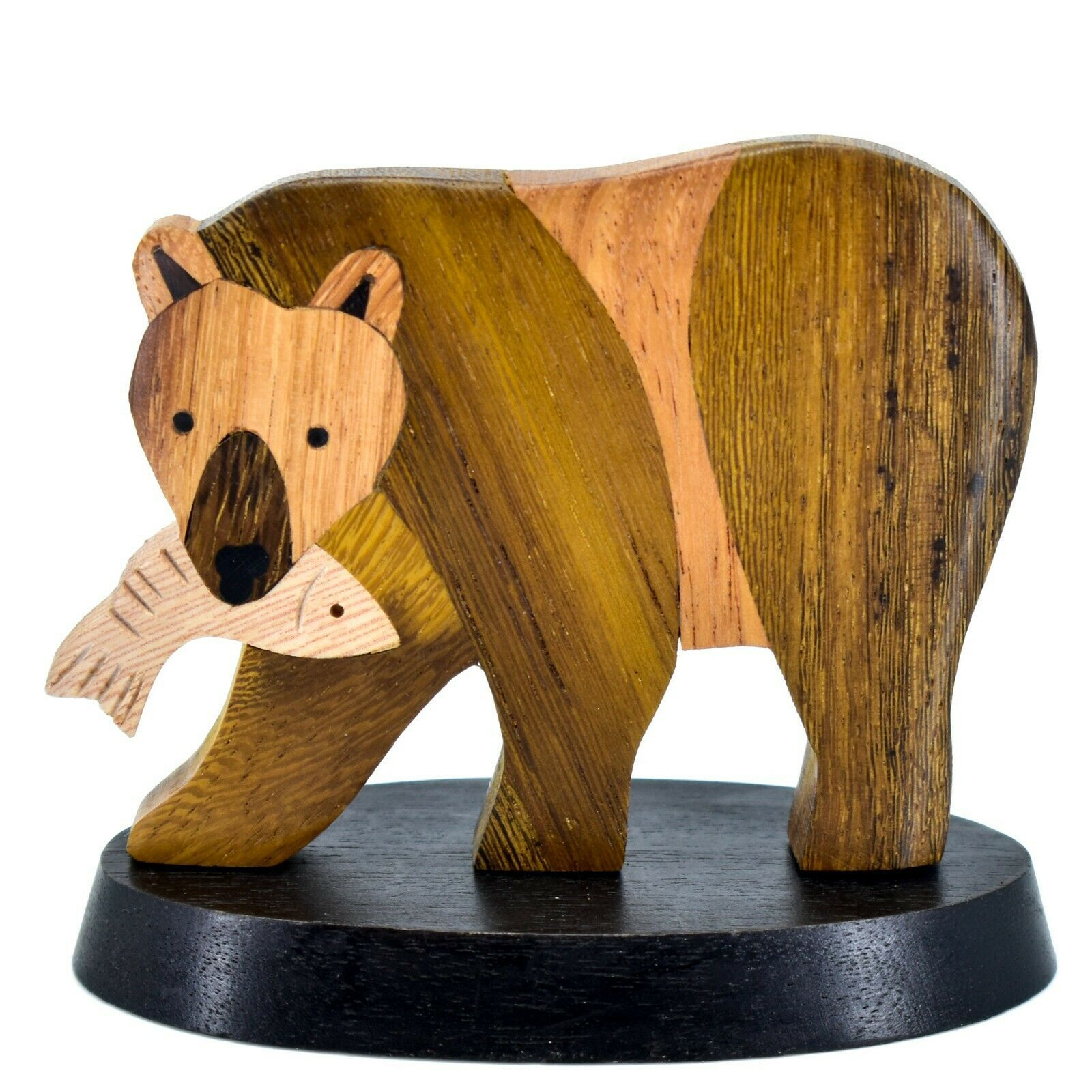 Northwoods Handmade Wooden Parquetry Bear with Fish Sculpture Figurine