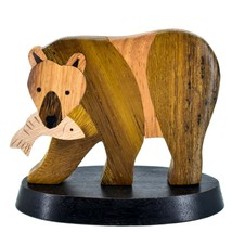 Northwoods Handmade Wooden Parquetry Bear with Fish Sculpture Figurine image 1