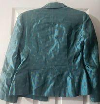 Women's Giorgio Armani Le Collezioni Silk Skirt Suit Teal w/ Gold Size 6 Jacket image 4
