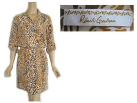 Robert Graham Animal Print Silk Shirt Dress 4 - £31.58 GBP