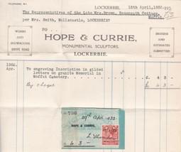Hope & Currie Monumental Sculptors 1932 Lockerbie Invoice+Stamp Receipt ... - $7.55