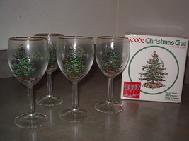 Spode CHRISTMAS TREE All Purpose Wine Goblets -Set of 8 with Original Boxes - $89.99