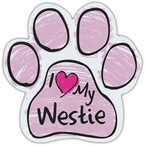 Pink Scribble Paws: I Love My Westie (West Highland Terrier) | Dog Paw Magnets - $6.99