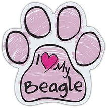 Pink Scribble Paws: I Love My Beagle | Dog Paw Shaped Car Magnets - $6.99