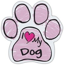 Pink Scribble Paws: I LOVE MY DOG | Dog Paw Shaped Car Magnets - $6.99