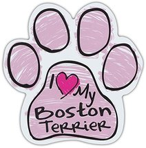 Pink Scribble Paws: I Love My Boston Terrier | Dog Paw Shaped Car Magnets - $6.99