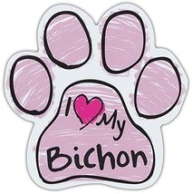 Pink Scribble Paws: I Love My Bichon Frise | Dog Paw Shaped Car Magnets - $6.99
