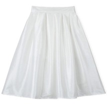 Dark Blue Glossy A Line Ruffle Skirt Women Taffeta High Waist Pleated Midi Skirt image 3