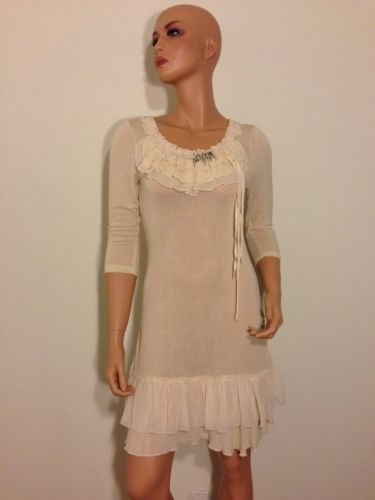 Forla Paris ivory Cream Sheer Knit Lace Romantic Boho Chic ruffle Dress SMALL