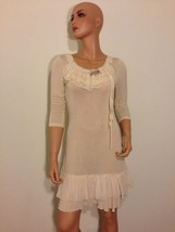 Forla Paris ivory Cream Sheer Knit Lace Romantic Boho Chic ruffle Dress ... - $79.00