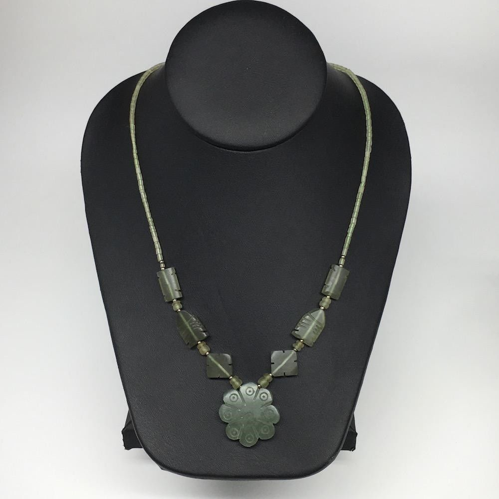 "Primary image for 1pc,2mm-30mm, Green Nephrite Jade Flower Carved Beaded Necklace,16""-18"",NPH335"