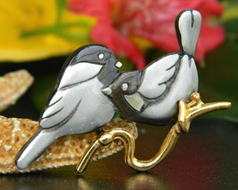 Vintage Chickadee Nuthatch Bird Figural Brooch Pin Mark Shields Pewter - $17.95