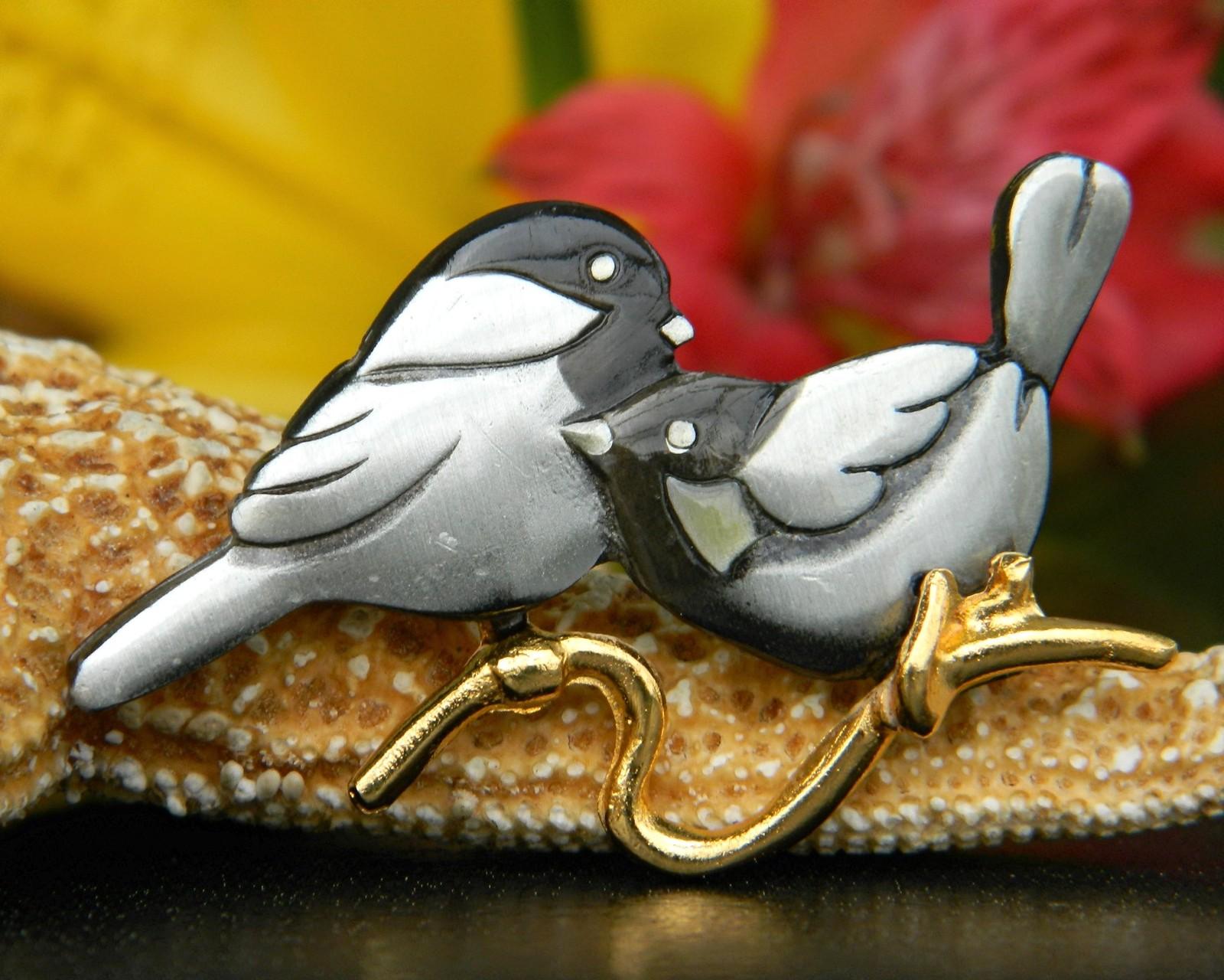... Vintage Chickadee Nuthatch Bird Figural Brooch Pin Mark Shields Pewter  ...