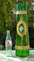 GLASS VASE BOHEMIAN MURANO ERA GOLD OVERLAY ENAMELED 19 x 6  B. OFFER - $1,249.99