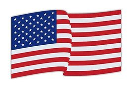 Crazy Sticker Guy Waving Flag Magnet - United States of America - Red, White and - $9.99