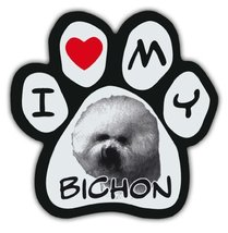 Picture Paws | Dog Paw Shaped Magnets: I LOVE MY BICHON (FRISE) | Car Ma... - $6.99
