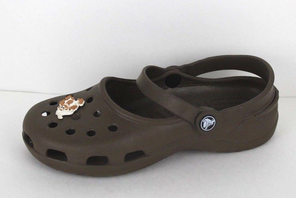 Crocs Damen Clogs Sandalen Gummi Braun Größe 7