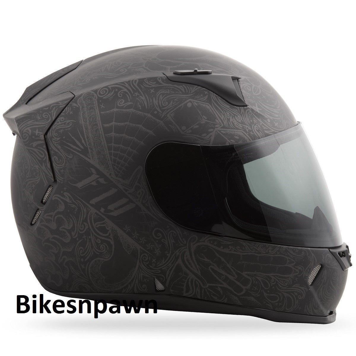 XL Fly Racing Revolt FS Motorcycle Helmet Ink & Needle Matte Black DOT & Snell