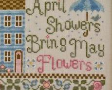 April Showers Bring May Flowers cross stitch chart Country Cottage Needleworks