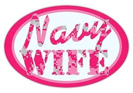 Crazy Sticker Guy Oval Shaped Car/Refrigerator Magnet - Navy Wife (Hot Pink Desi - $6.99