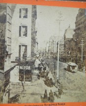 antique stereoview INSTANTANEOUS BROADWAY SCENE new york city photo AMER... - $84.95