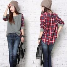 New Fashion Women Batwing Splicing Plaid Long Sleeve Casual Tops Tee Shirt Blous