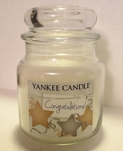 "Yankee Candle ~White Floral~14.5 oz~NEW~ Free Ship~""CONGRATULATIONS!"" - $21.46"