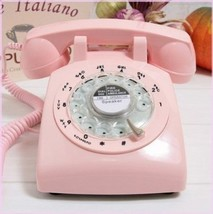 Glodeals 1960's Style Pink Retro Old Fashioned Rotary Dial Telephone - $78.71
