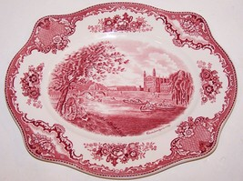 "LOVELY JOHNSON BROTHERS ENGLAND OLD BRITAIN CASTLES RED/PINK 12""  PLATTER - $23.75"