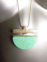 "STYLISH Turquoise Stone Brass Pendant 30"" Long Gold Snake Chain Necklace  - €14,47 EUR"