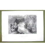 CANADA Falls on Montmorenci River - 1841 Engraving Print by BARTLETT - $16.34