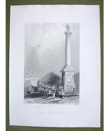 CANADA Quebec Nelson's COlumn - 1841 Engraving Print by BARTLETT - $16.34