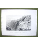 CANADA Montmorency Falls Summit - 1841 Engraving Print by BARTLETT - $16.34