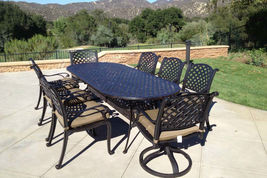 Patio set 9pc aluminum luxury outdoor furniture dining Antique Nassau Bronze image 1
