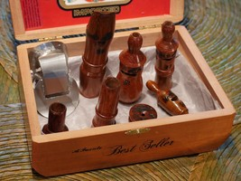 Brazilian Bird Call/Samba 8 whistles Wood case packNIB containing #25 to... - $163.63
