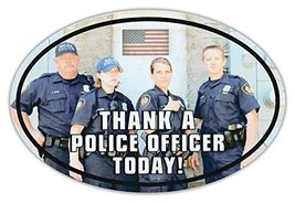 Oval Car Magnet - Thank A Police Officer - Support Law Enforcement - Magnetic Bu - $6.99