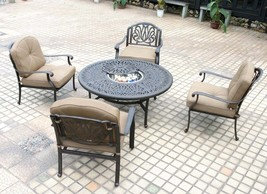Deep Seating Patio Furniture 5 Piece Outdoor Conversation Set Elisabeth ... - $2,099.00