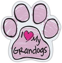 Pink Scribble Paws: I Love My Grandogs Grand Dogs | Dog Paw Shaped Car Magnets - $6.99