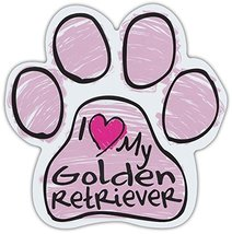 Pink Scribble Paws: I Love My Golden Retriever | Dog Paw Shaped Car Magnets - $6.99